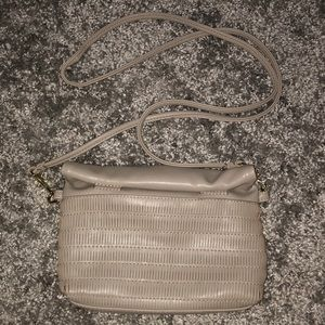 Taupe roll-top wristlet